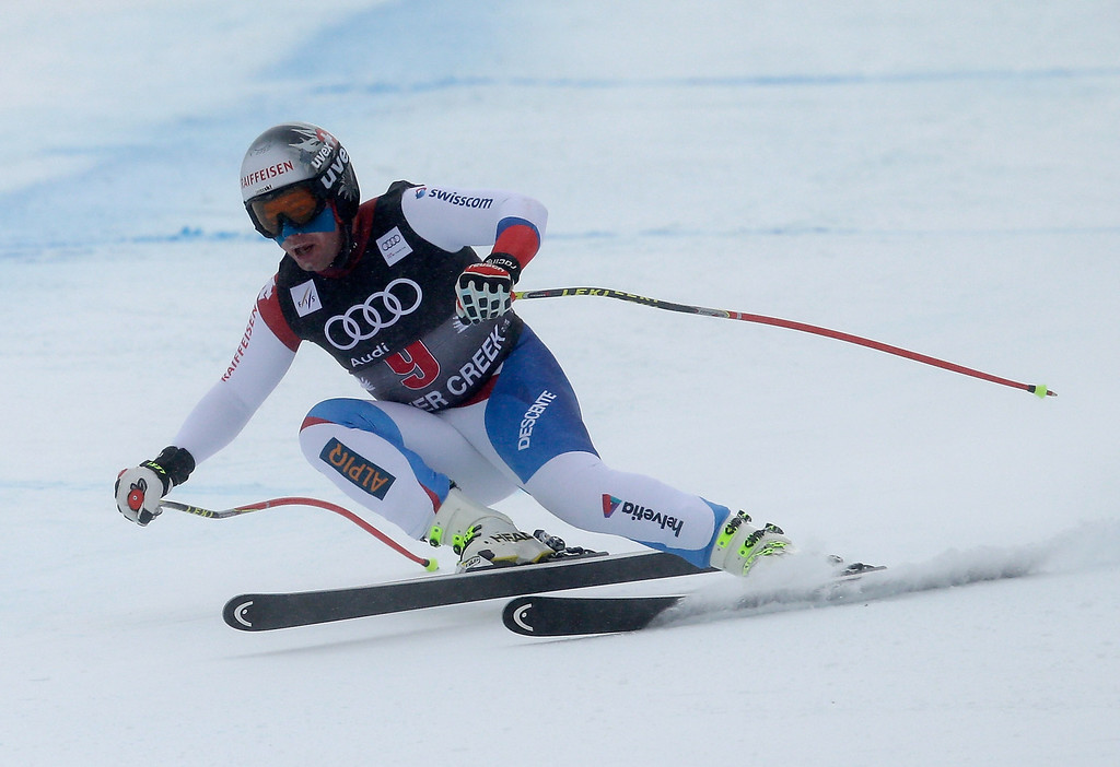 . Beat Feuz of Switzerland skis during the FIS Beaver Creek Men\'s Downhill World Cup race on December 6, 2013 in Beaver Creek, Colorado.  (Photo by Ezra Shaw/Getty Images)