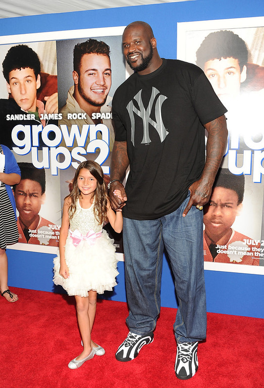 ". Retired basketball player and actor  Shaquille O\'Neal and actress Alexys Nycole Sanchez attend the premiere of ""Grown Ups 2\"" at the AMC Loews Lincoln Square on Wednesday, July 10, 2013 in New York. (Photo by Evan Agostini/Invision/AP)"