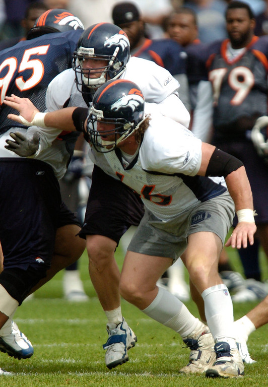 . Denver Broncos C Tom Nalen (66) and G Chris Kuper (77) look to put a block during the morning practice at camp Monday, August 6, 2007 at Dove Valley. DENVER POST PHOTO BY JOHN LEYBA