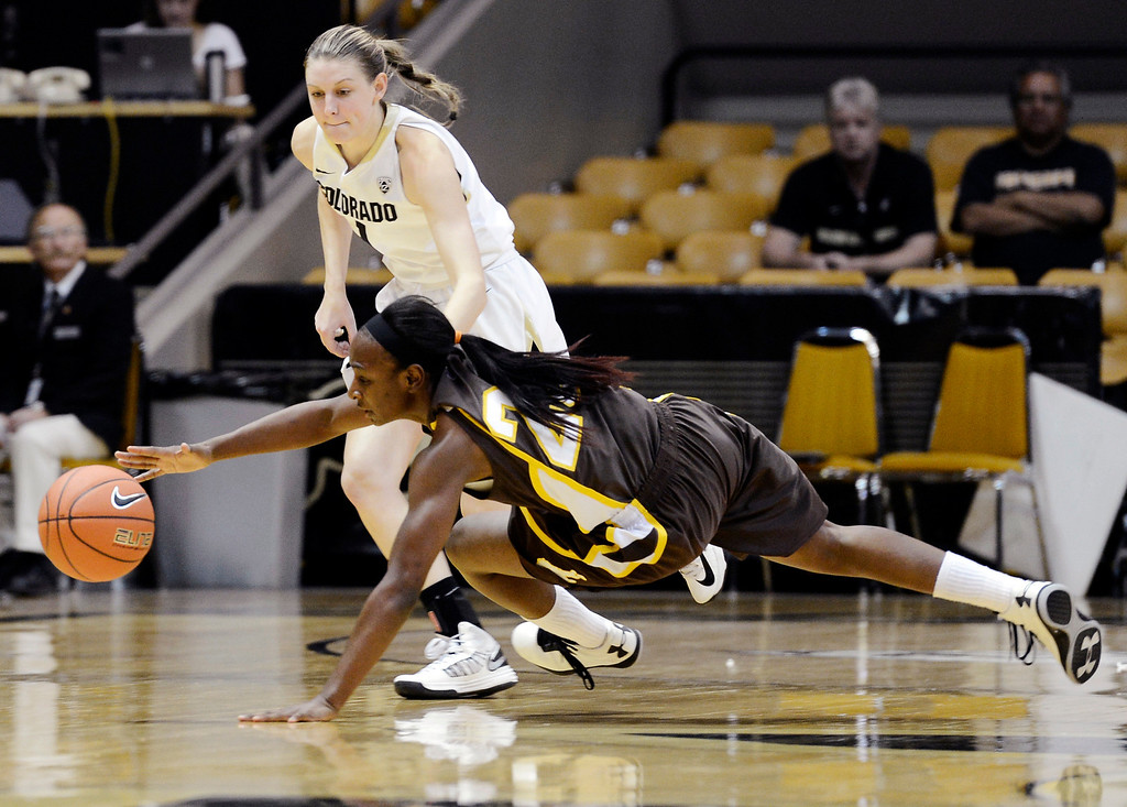 . Wyoming\'s Chelan Landry dives for a loose ball in front of Colorado\'s Lexy Kresl during their NCAA college basketball game, Wednesday, Nov. 28, 2012, in Boulder, Colo. (AP Photo/The Daily Camera, Jeremy Papasso)