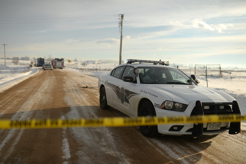 . WELD COUNTY, CO. FEBRUARY 07: Authorities investigate the scene near County Roads 15 and 2 near Frederick in Weld County where two bodies were discovered in irrigation canals. Weld County. Colorado. February 07. 2014. (Photo by Hyoung Chang/The Denver Post)
