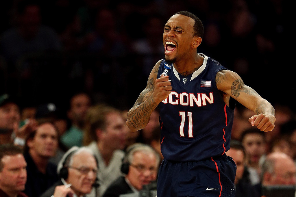. Ryan Boatright #11 of the Connecticut Huskies reacts after a turnover by the Michigan State Spartans in the second half of the East Regional Final of the 2014 NCAA Men\'s Basketball Tournament at Madison Square Garden on March 30, 2014 in New York City.  (Photo by Elsa/Getty Images)