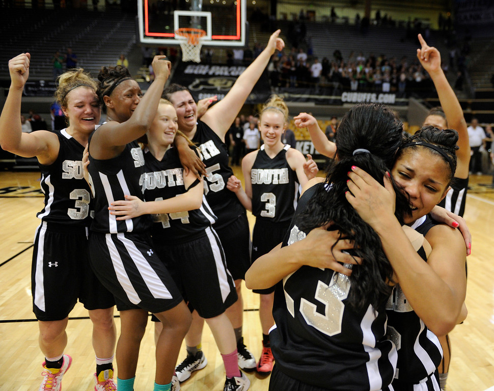 . BOULDER, CO. - MARCH 16: The Pueblo South High School girl\'s basketball team defeated D\'Evelyn 66-42 in the 4A championship game Saturday, March 16, 2013 at the Coors Events Center in Boulder.  (Photo By Karl Gehring/The Denver Post)