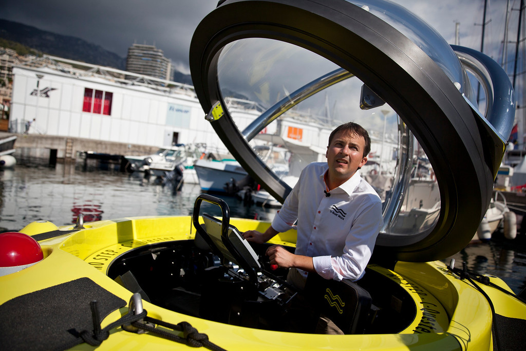 . Erik Hasselman, commercial director of U-Boat Worx, stands inside a C-Quester 3 submarine during the Monaco Yacht Show (MYS) in the harbor in Monaco, France, on Wednesday, Sept. 25, 2013. Photographer: Balint Porneczi/Bloomberg