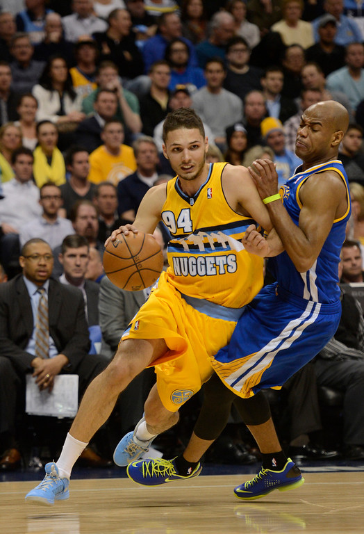 . DENVER, CO. - APRIL 23: Denver Nuggets shooting guard Evan Fournier (94) drives to the basket in the first quarter. The Denver Nuggets took on the Golden State Warriors in Game 2 of the Western Conference First Round Series at the Pepsi Center in Denver, Colo. on April 23, 2013. (Photo by John Leyba/The Denver Post)