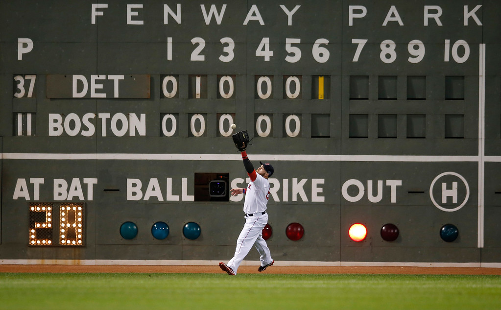 ". Boston Red Sox\'s Jonny Gomes plays a ball off the ""Green Monster\"" hit by Detroit Tigers\' Prince Fielder in the sixth inning as Fielder hits a double during Game 2 of the American League baseball championship series Sunday, Oct. 13, 2013, in Boston. (AP Photo/Elise Amendola)"