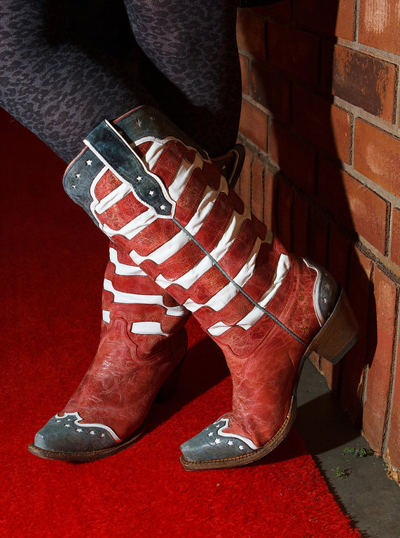 . Susan Mock wearing flag boots.  The 2013 Coors Western Art Exhibit and Sale Red Carpet Reception at the National Western Stock Show Complex in Denver, Colorado, on Tuesday, Jan. 8, 2013. Photo Steve Peterson
