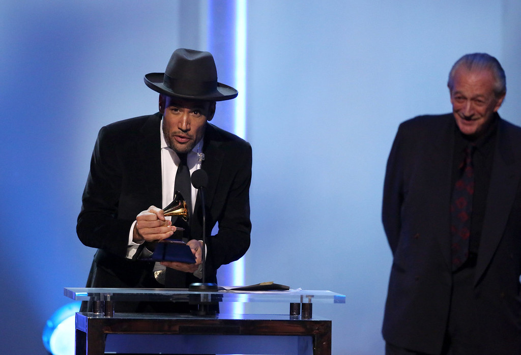 ". Ben Harper, left, and Charlie Musselwhite accept the best blues album award for ""Get Up!\"" at the pre-telecast of the 56th annual Grammy Awards on Sunday, Jan. 26, 2014, in Los Angeles. (Photo by Matt Sayles/Invision/AP)"