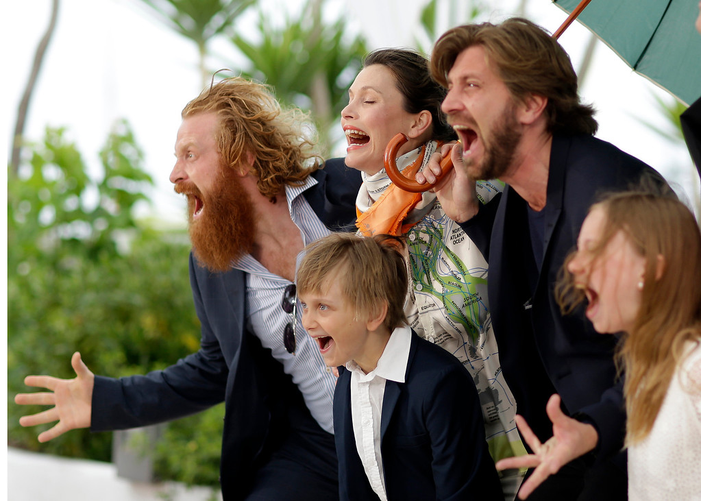 . From left, actor Kristofer Hivju, actor Vincent Wettergren, actress Lisa Loven Kongsli, director Ruben Ostlund, and actress Clara Wettergren  pose for photographers during a photo call for Turist at the 67th international film festival, Cannes, southern France, Monday, May 19, 2014. (AP Photo/Thibault Camus)