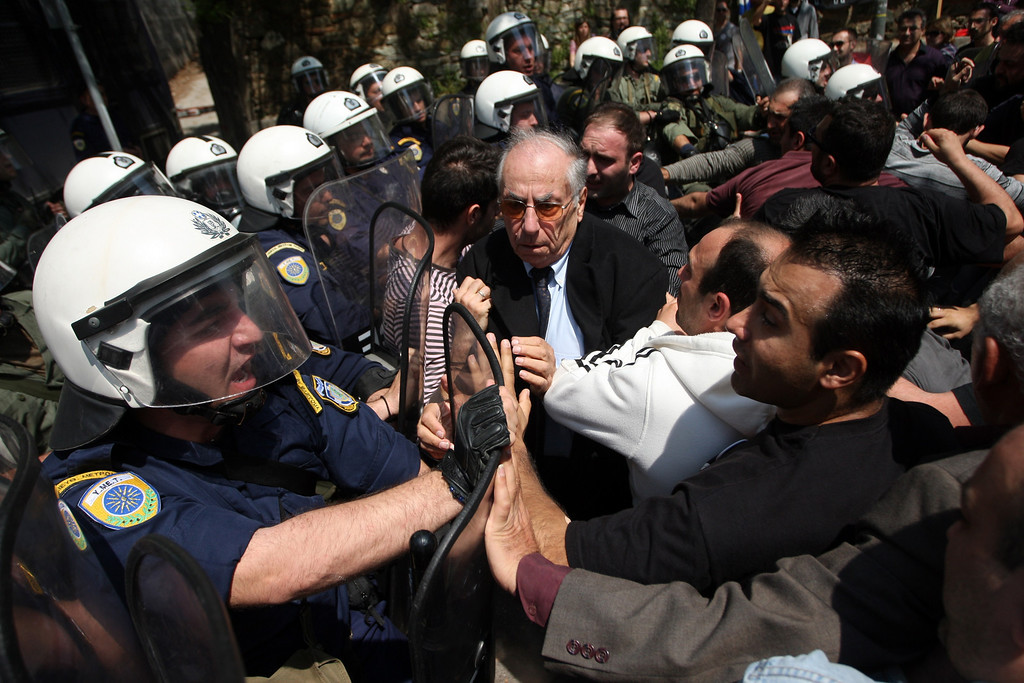 . Armenian demonstrators clash with riot police outside the Turkish consulate in Thessaloniki on April 24,2013. The ethnic Armenian community in Thessaloniki organised a protest rally, marking the 98th anniversary of the massacre and deportation of Ottoman Armenians during World War I, which Armenians claim left around 1.5 million dead and is described by many countries as genocide although Ankara continues to reject the term. SAKIS MITROLIDIS/AFP/Getty Images