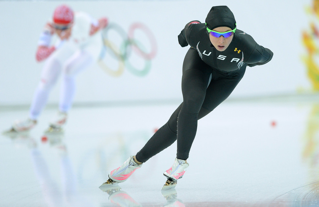 . US Jilleanne Rookard competes in the Women\'s Speed Skating 3000m at the Adler Arena during the Sochi Winter Olympics on February 9, 2014.   ANDREJ ISAKOVIC/AFP/Getty Images