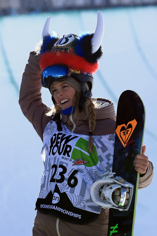 . Torah Bright of Australia takes the podium after winning the women\'s snowboard superpipe final at the Dew Tour iON Mountain Championships on December 14, 2013 in Breckenridge, Colorado.  (Photo by Doug Pensinger/Getty Images)