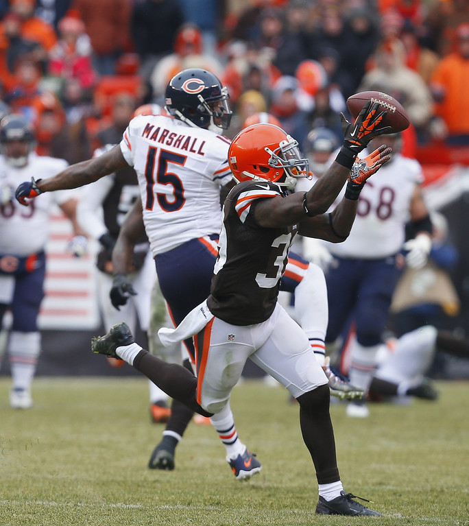 . Defensive back Tashaun Gipson #39 of the Cleveland Browns intercepts a pass for a touchdown as wide receiver Brandon Marshall #15 of the Chicago Bears looks on at FirstEnergy Stadium on December 15, 2013 in Cleveland, Ohio.  (Photo by Matt Sullivan/Getty Images)