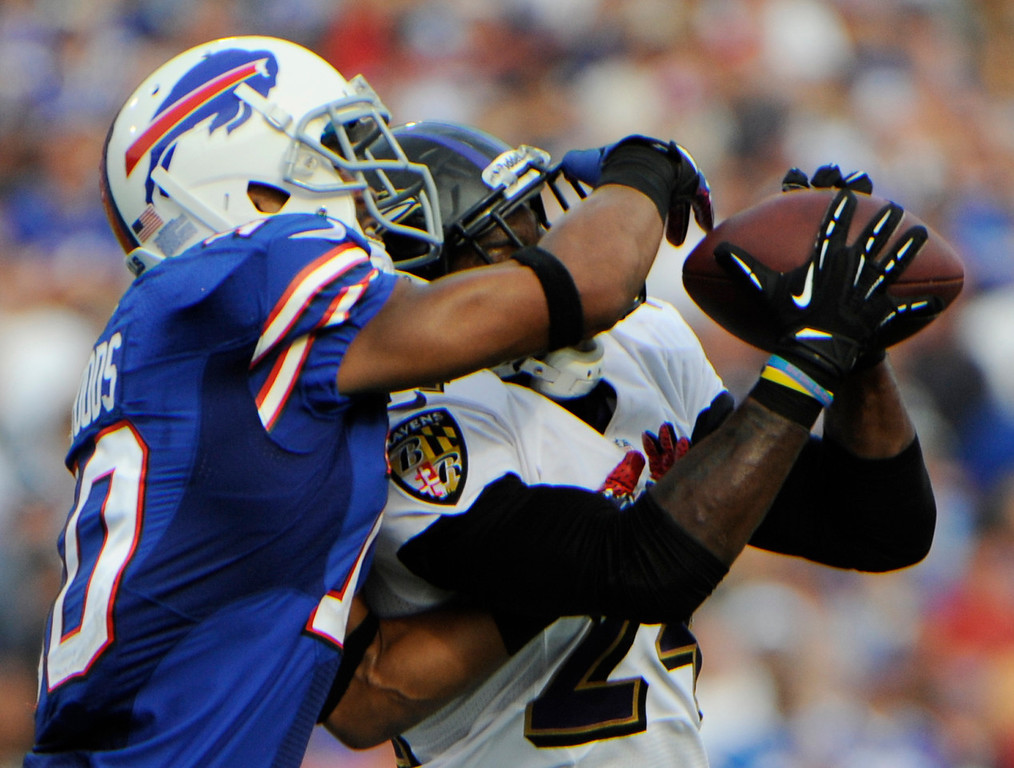 . Baltimore Ravens cornerback Corey Graham, right, intercepts a pass in front of Buffalo Bills wide receiver Robert Woods during the second half of an NFL football game on Sunday, Sept. 29, 2013, in Orchard Park, N.Y. (AP Photo/Gary Wiepert)