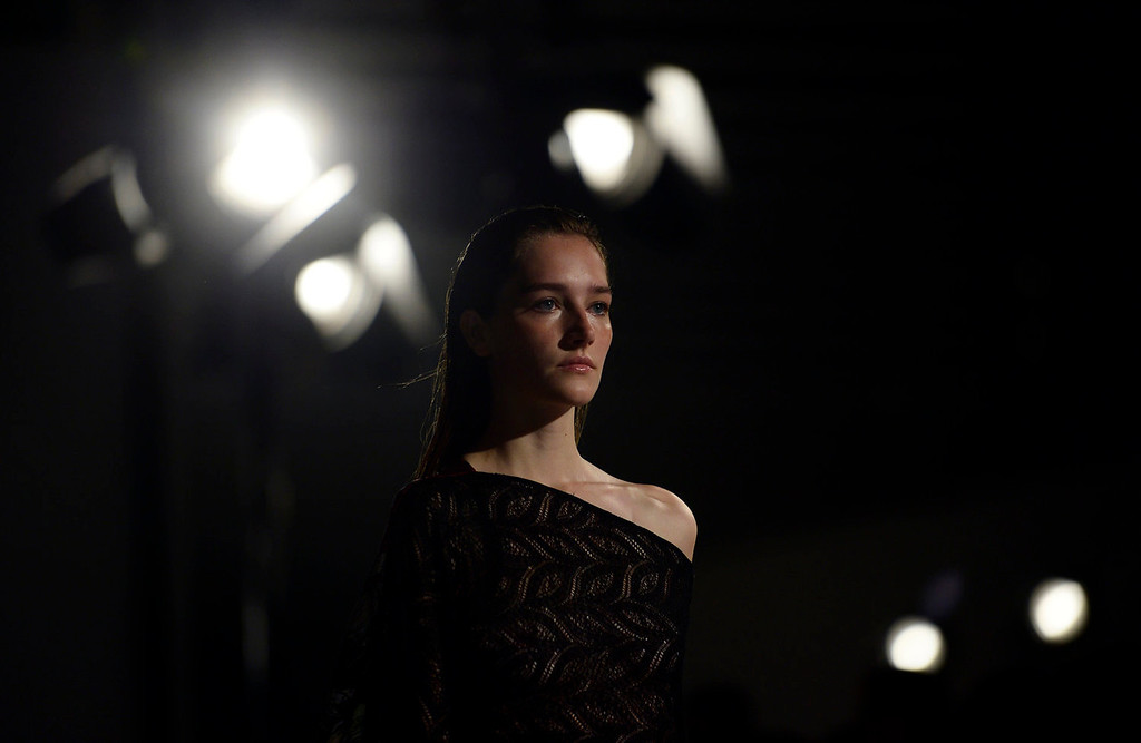 . A model wears a creation from Custo Barcelona during a 080 Barcelona fashion show in Barcelona, Spain, Wednesday, July 10, 2013.  (AP Photo/Manu Fernandez)
