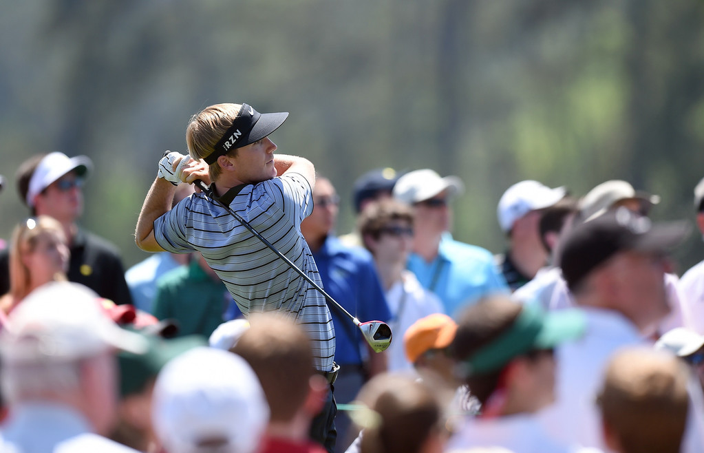 . Russell Henley of the US tees off on the 1st hole during the third round of the 78th Masters Golf Tournament at Augusta National Golf Club on April 12, 2014 in Augusta, Georgia.   JIM WATSON/AFP/Getty Images