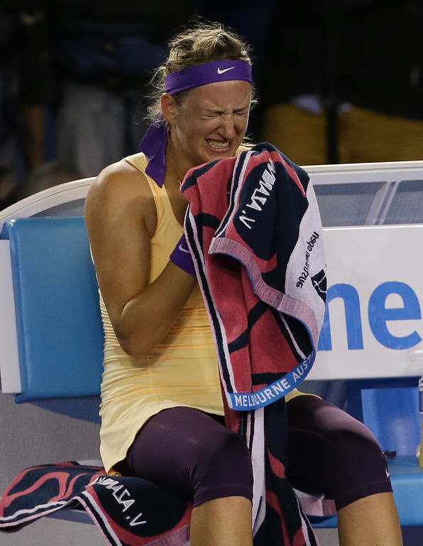 . Victoria Azarenka of Belarus reacts as she celebrates her win over China\'s Li Na in the women\'s final at the Australian Open tennis championship in Melbourne, Australia, Saturday, Jan. 26, 2013. (AP Photo/Aaron Favila)