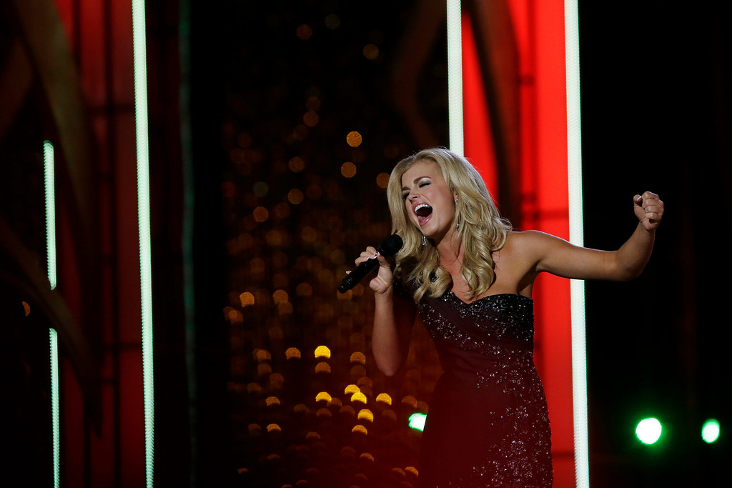 . Miss Georgia Carly Mathis performs during the Miss America 2014 pageant, Sunday, Sept. 15, 2013, in Atlantic City, N.J. (AP Photo/Mel Evans)