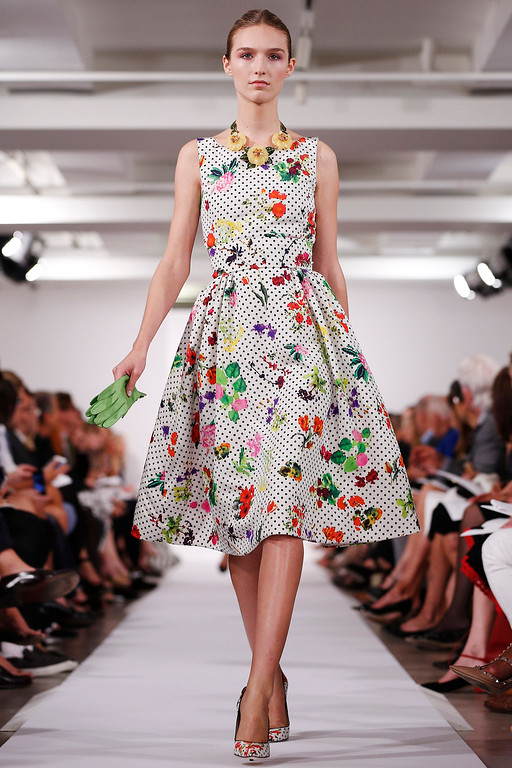 . The Oscar de la Renta Spring 2014 collection is modeled during Fashion Week in New York, Tuesday, Sept. 10, 2013. (AP Photo/John Minchillo)