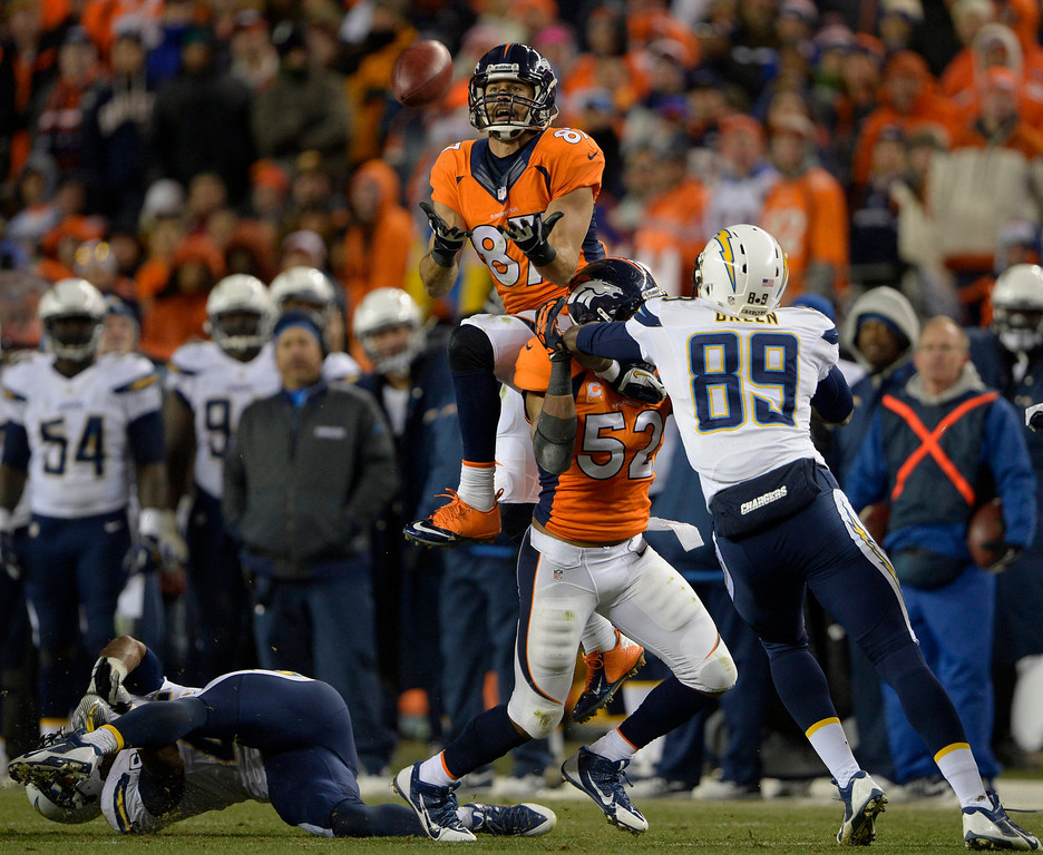 . Denver Broncos wide receiver Eric Decker (87) leaps to recover an insides kick during the fourth quarter. Decker could not hold on and the San Diego Chargers recovered the ball. The Denver Broncos went on to  beat the San Diego Chargers 24 - 17. The Denver Broncos vs. The San Diego Chargers in an AFC Divisional Playoff game at Sports Authority Field at Mile High in Denver on January 12, 2014. (Photo by Joe Amon/The Denver Post)