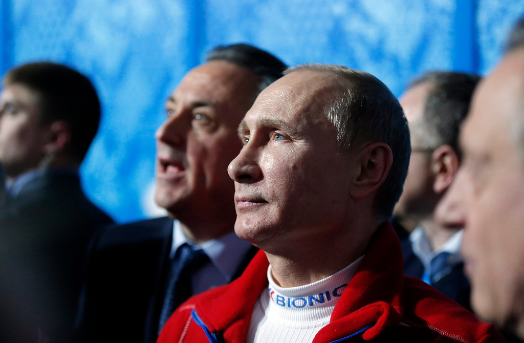. Russian president Vladimir Putin views the Ice Dance Free Dance of the Figure Skating team event at the Iceberg Skating Palace during the Sochi 2014 Olympic Games, Sochi, Russia, 09 February 2014.  EPA/ANATOLY MALTSEV
