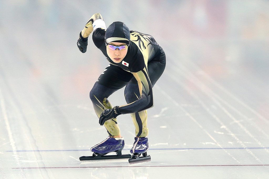 . Shoko Fujimura of Japan competes during the Women\'s 3000m Speed Skating event during day 2 of the Sochi 2014 Winter Olympics at Adler Arena Skating Center on February 9, 2014 in Sochi, .  (Photo by Streeter Lecka/Getty Images)