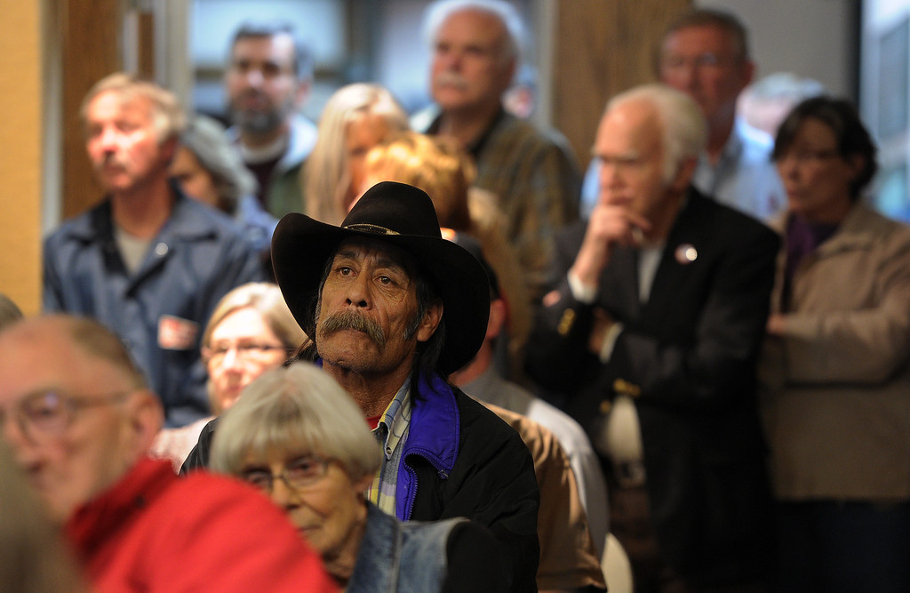 . Dozens of worried evacuees and Estes Park residents packed the city council chambers in the Estes Park Town Hall to get an update on the Fern Lake Fire burning in Rocky Mountain National Park on December 2, 2012.  Helen H. Richardson, The Denver Post