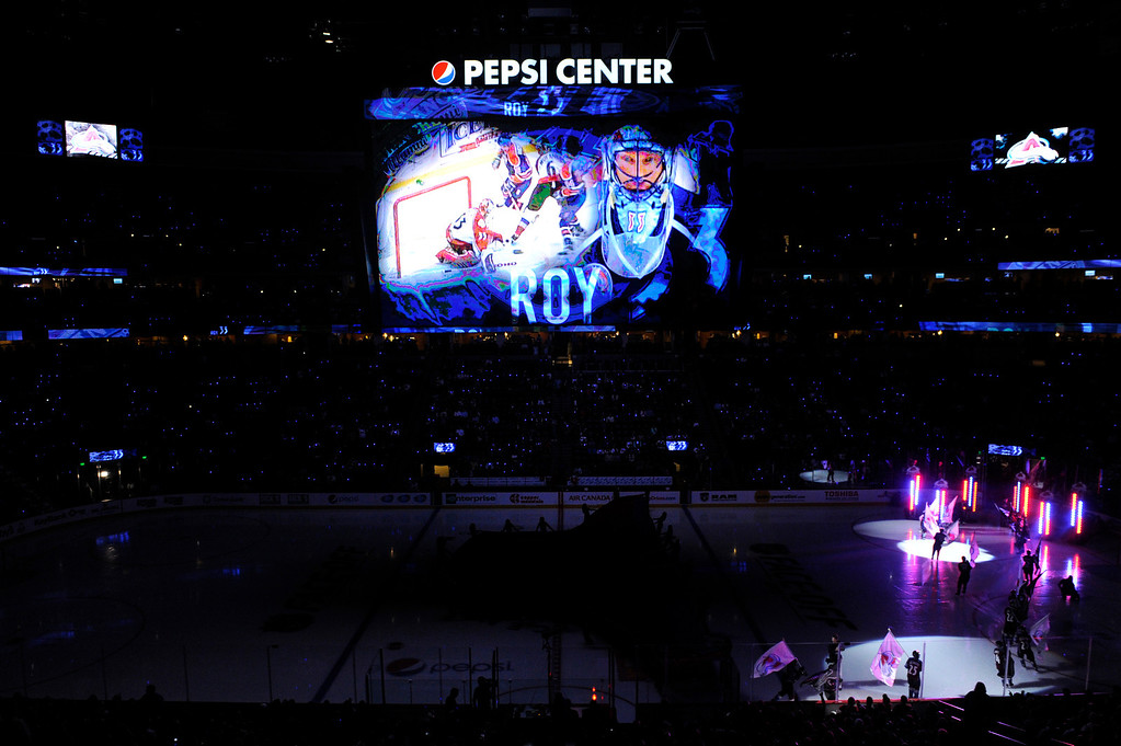 . DENVER, CO. - OCTOBER 02: Avalanche coach Patrick Roy\'s playing days were honored on the giant video panel before the game Wednesday. The Colorado Avalanche hosted the Anaheim Ducks at the Pepsi Center Wednesday night, October 2, 2013. Photo By Karl Gehring/The Denver Post