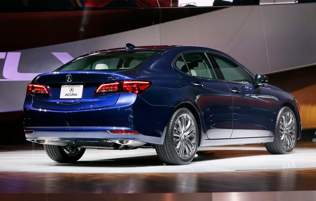 . The 2015 Acura TLX is introduced at the 2014 New York International Auto Show at the Javits Convention Center, in New York, Wednesday, April 16, 2014. (AP Photo/Richard Drew)