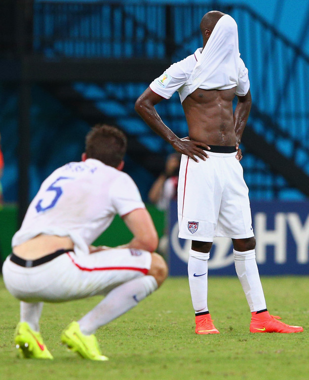 . DaMarcus Beasley (R) of the United States reacts after a 2-2 draw during the 2014 FIFA World Cup Brazil Group G match between the United States and Portugal at Arena Amazonia on June 22, 2014 in Manaus, Brazil.  (Photo by Adam Pretty/Getty Images)