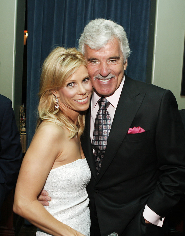 ". Actors Cheryl Hines (L) and Dennis Farina pose at the afterparty for the premiere of Anchor Bay\'s ""The Grand\"" at the Cabana Club on March 5, 2008 in Los Angeles, California. (Photo by Kevin Winter/Getty Images)"