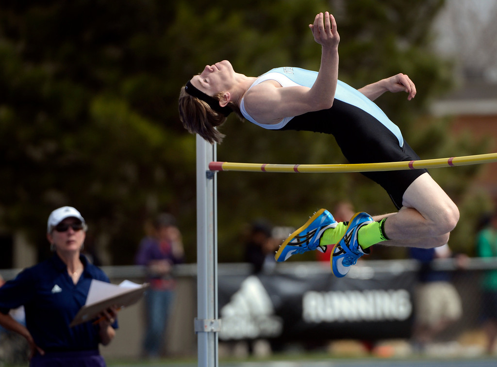 . DENVER, CO. - APRIL 13TH: Noah Gabel, Vista Ridge High School, clears 6\' during the boys high jump competition at the Mullen Runners Roost 2013 Track and Field Invitational at Mullen High School, Saturday April, 13th 2013.(Photo By Andy Cross/The Denver Post)