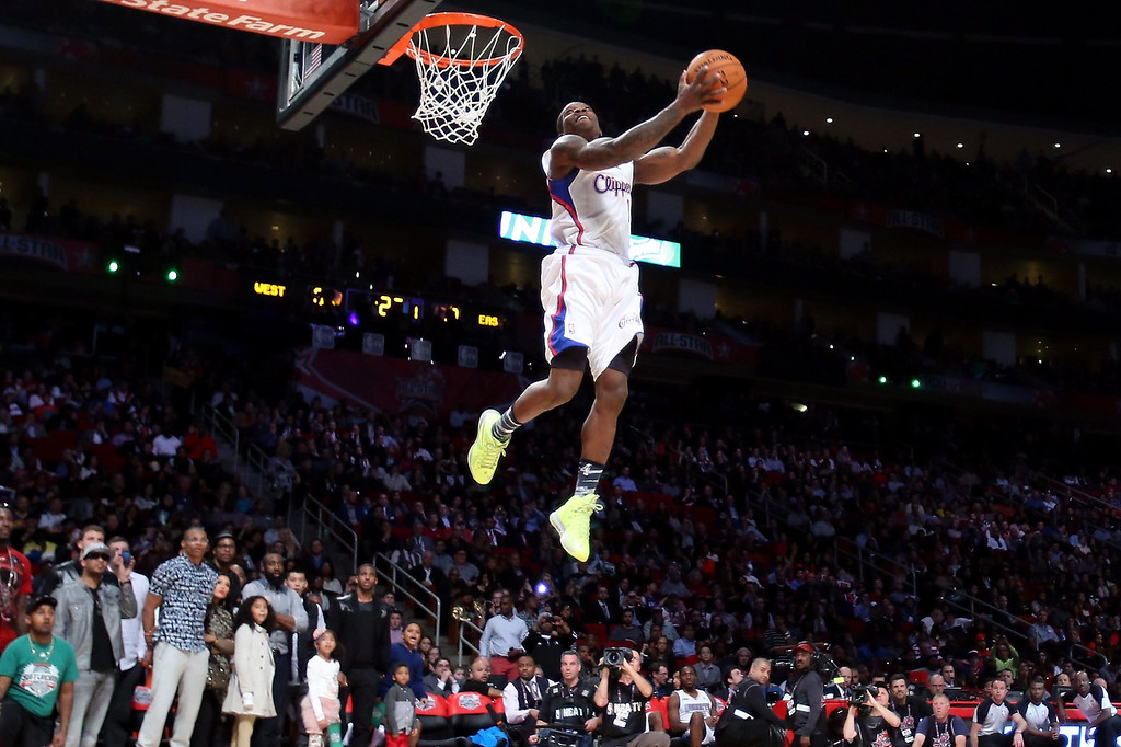. HOUSTON, TX - FEBRUARY 16:  Eric Bledsoe of the Los Angeles Clippers dunks the ball in the second round during the Sprite Slam Dunk Contest part of 2013 NBA All-Star Weekend at the Toyota Center on February 16, 2013 in Houston, Texas.   (Photo by Ronald Martinez/Getty Images)