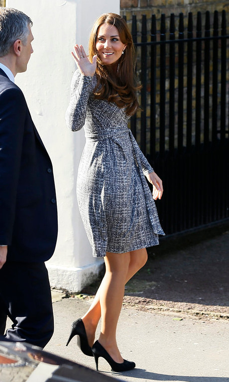 . Britain\'s Kate, The Duchess of Cambridge arrives at Hope House, in London,  Tuesday, Feb. 19, 2013. As patron of Action on Addiction, the Duchess was visiting Hope House, a safe, secure place for women to recover from substance dependence. (AP Photo/Kirsty Wigglesworth)
