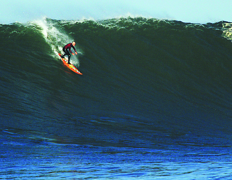 . Tyler Smith of Santa Cruz takes off on a breathtaking wall in the February, 2006 contest.  (Dan Coyro/Sentinel)