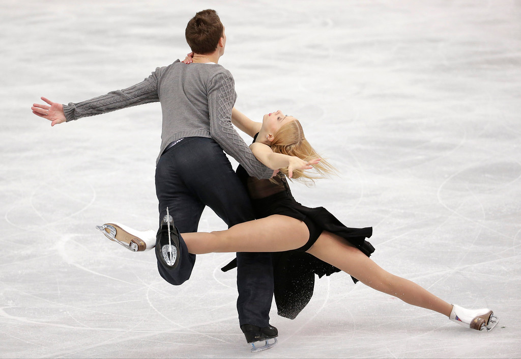. Ekaterina Bobrova and Dmitri Soloviev of Russia compete in the ice dance free dance figure skating finals at the Iceberg Skating Palace during the 2014 Winter Olympics, Monday, Feb. 17, 2014, in Sochi, Russia. (AP Photo/Bernat Armangue)
