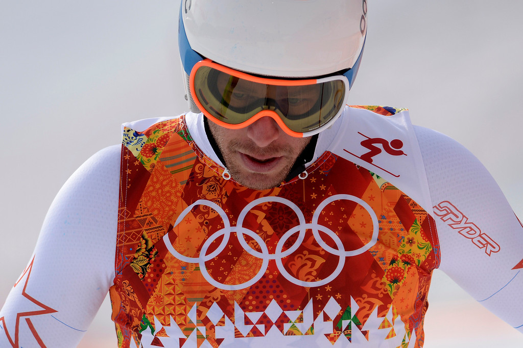 . SOCHI, RUSSIA - FEBRUARY 09: United States skier Bode Miller crosses the finish line and reacts to not making the top three during the alpine skiing men\'s downhill final. Sochi 2014 Winter Olympics at the Rosa Khutor Alpine Resort on Sunday, February 9, 2014. (Photo by AAron Ontiveroz/The Denver Post)