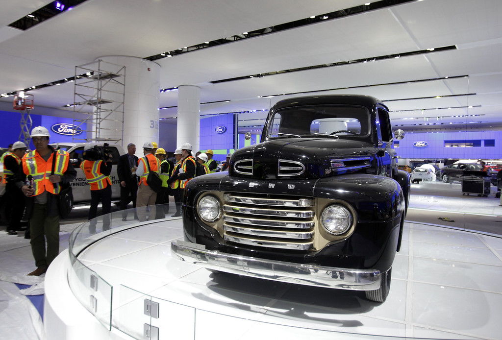 . This Thursday, Jan. 10, 2013 photo shows a historic 1948 Ford F-1 pickup truck on display in preparation for the 2013 North American International Auto Show in Detroit. (AP Photo/Detroit Free Press, Jarrad Henderson)