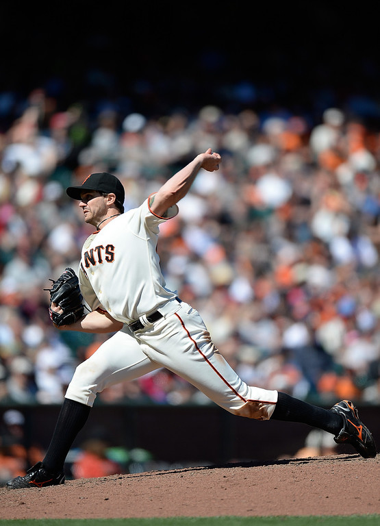 . SAN FRANCISCO, CA - APRIL 10: Barry Zito #75 of the San Francisco Giants pitches against the Colorado Rockies in the seventh inning at AT&T Park on April 10, 2013 in San Francisco, California. (Photo by Thearon W. Henderson/Getty Images)