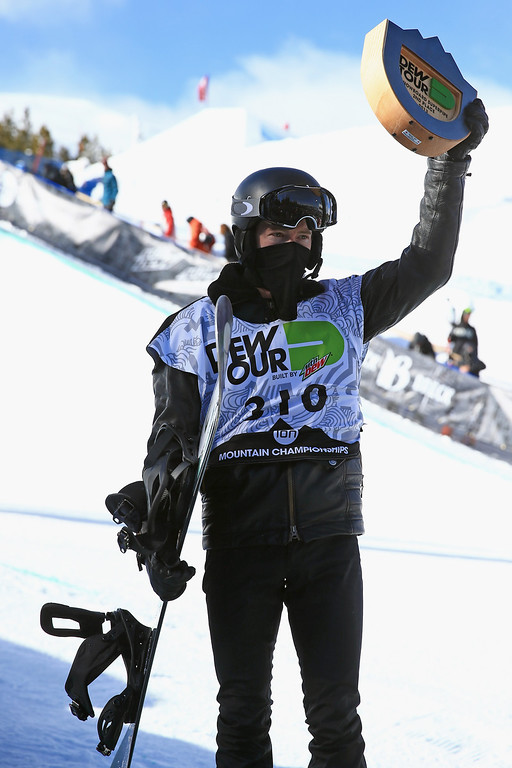 . Shaun White takes the podium for second place in the men\'s snowboard superpipe final at the Dew Tour iON Mountain Championships on December 14, 2013 in Breckenridge, Colorado.  (Photo by Doug Pensinger/Getty Images)