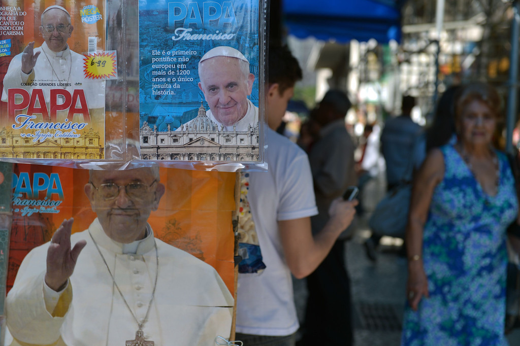 . Magazines on Pope Francis are seen in a kiosk in Rio de Janeiro, Brazil on July 22, 2013. Pope Francis will arrive in Rio Monday afternoon for the World Youth Day (WYD), to take place until July 28. AFP PHOTO / GABRIEL BOUYS/AFP/Getty Images