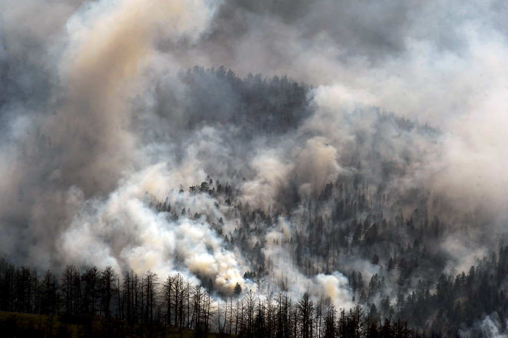 . JEFFERSON COUNTY, CO - JUNE 20:  The Lime Gulch Fire off of Foxton Road near Conifer, CO continues to burn almost next to last year\'s Lower North Fork fire on June 20, 2013.  Photo by Helen H. Richardson/The Denver Post)