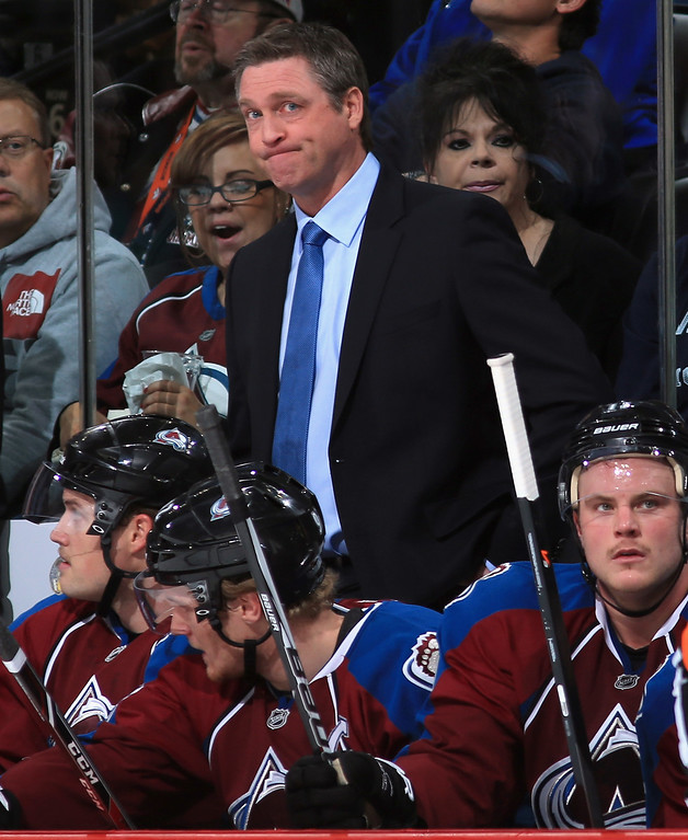 . DENVER, CO - NOVEMBER 16:  Head coach Patrick Roy of the Colorado Avalanche looks on from the bench as his team was defeated 4-1 by the Florida Panthers at Pepsi Center on November 16, 2013 in Denver, Colorado.  (Photo by Doug Pensinger/Getty Images)