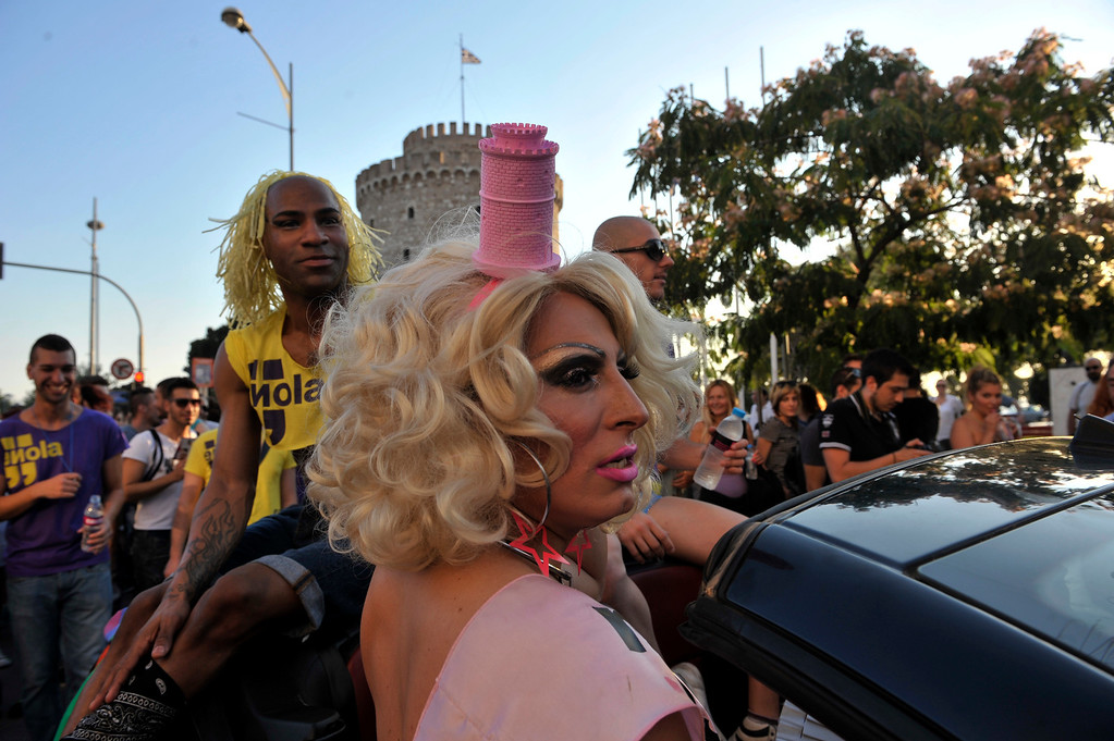 . Participants of the second gay pride march through the city of Thessaloniki on June 15, 2013. Thousands of people took part in a march organized by Greece\'s gay and lesbian community in the northern Greek city of Thessaloniki. AFP PHOTO /Sakis  MITROLIDIS/AFP/Getty Images