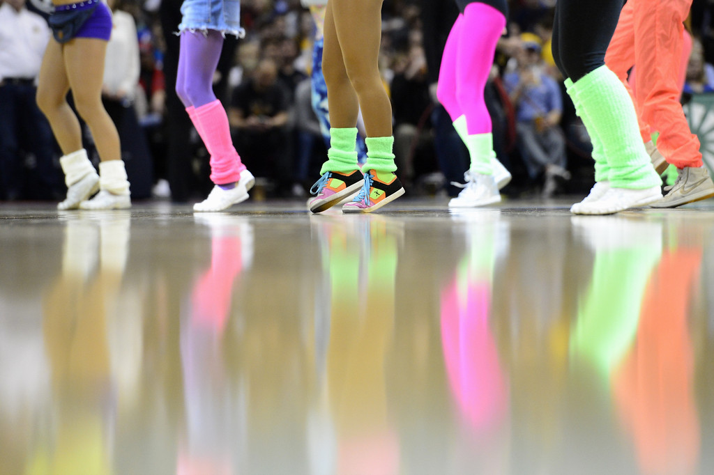 . DENVER, CO - FEBRUARY 5: The Denver Nuggets dancers take part in 80s night against the Milwaukee Bucks during the second half of action. The Denver Nuggets defeat the Milwaukee Bucks 112-104 in NBA action at the Pepsi Center. (Photo By AAron Ontiveroz/The Denver Post)