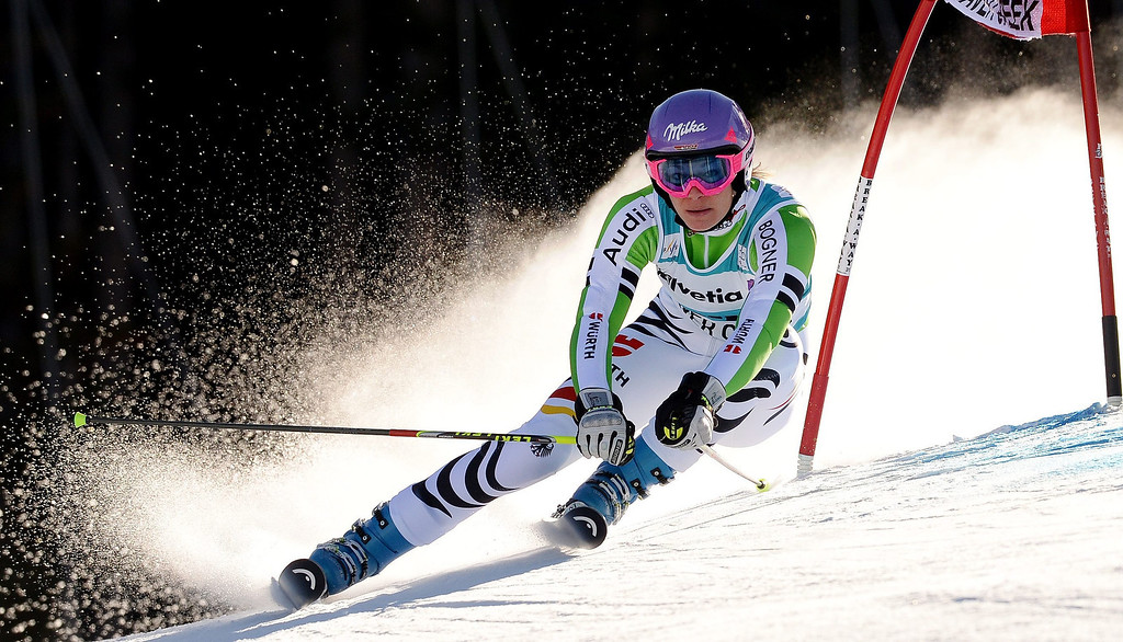 . Maria Hoefl-Riesch of Germany in action during the first run of the women\'s Giant Slalom race at the FIS World Cup Alpine Skiing in Beaver Creek, Colorado, USA, 01 December 2013.  EPA/JUSTIN LANE