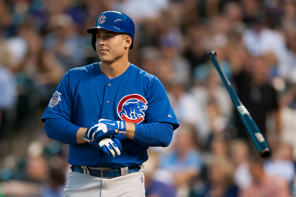. DENVER, CO - AUGUST 06:  Anthony Rizzo #44 of the Chicago Cubs flips his bat after striking out in the fifth inning of a game against the Colorado Rockies at Coors Field on August 6, 2014 in Denver, Colorado.  (Photo by Dustin Bradford/Getty Images)