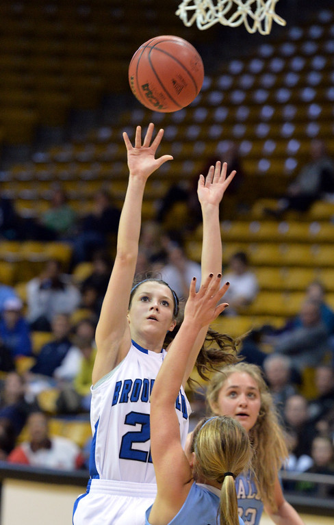 . Broomfield\'s Brenna Chase shoots over Valor Christian during the final four 4A state game at Coors Event Center. (David R. Jennings/Broomfield Enterprise)