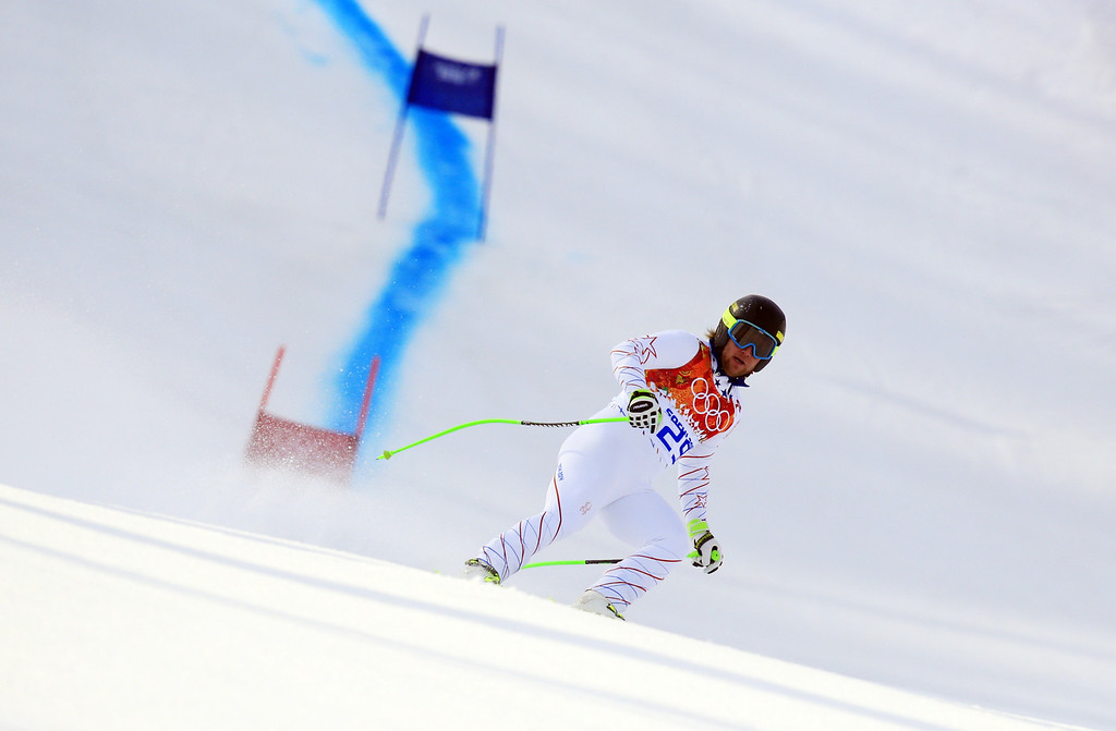 . US skier Andrew Weibrecht competes during the Men\'s Alpine Skiing Super-G at the Rosa Khutor Alpine Center during the Sochi Winter Olympics on February 16, 2014.    ALEXANDER KLEIN/AFP/Getty Images