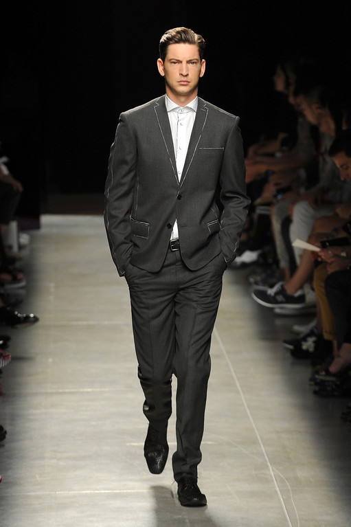 . A model walks the runway at Bottega Veneta show during Milan Menswear Fashion Week Spring Summer 2014 on June 23, 2013 in Milan, Italy.  (Photo by Pier Marco Tacca/Getty Images)